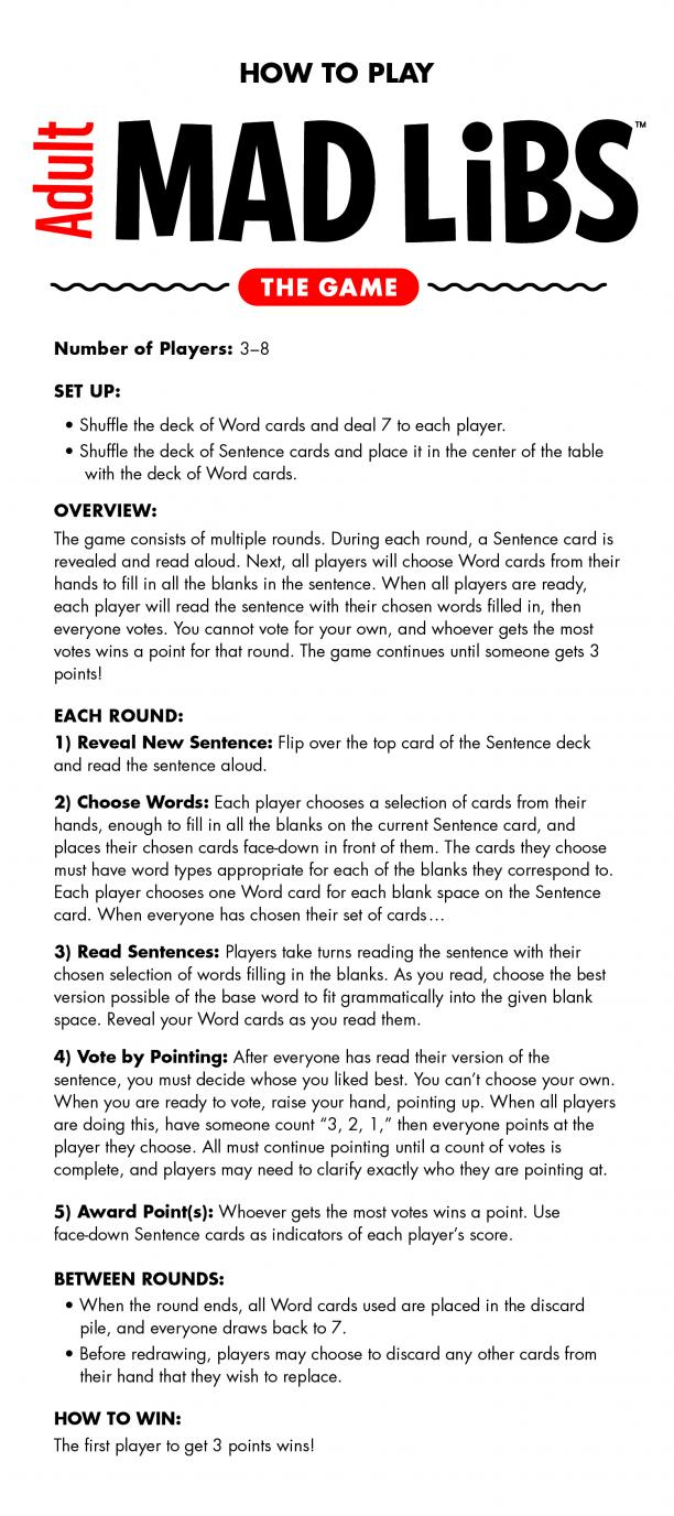 picture regarding Adult Mad Libs Printable identified as Grownup Nuts Libs: The Recreation, Recommendations Looney Labs