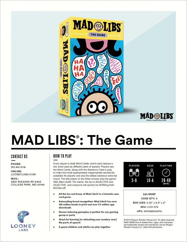 graphic regarding Mad Libs Printable Pdf named Ridiculous Libs®: The Activity Offer Sheet Looney Labs