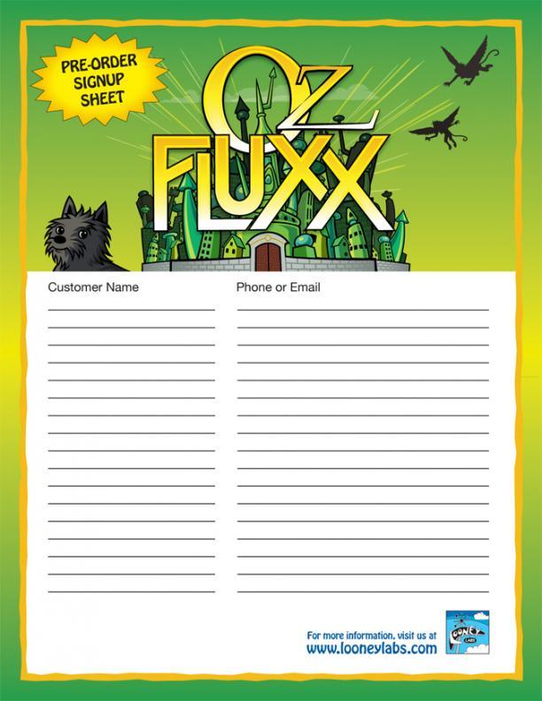 Oz Fluxx Signup Sheet | Looney Labs