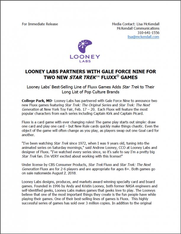star trek announcement looney labs